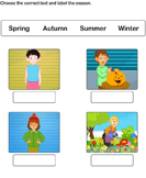 Label the Correct Season - date-and-telling-time - Kindergarten