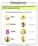Look at Picture and Write the Homophone