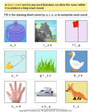 Look at Pictures and Identify Short Vowel Sound