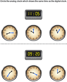 Match Digital Clocks with Analog Clocks