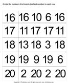 Match Numbers up to Twenty