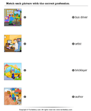 Match Pictures with Correct Profession - vocabulary - First Grade