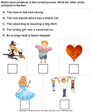 Identify Sentences to Describe Pictures - adjectives - First Grade