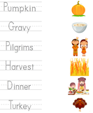 Match Thanksgiving Words with Pictures
