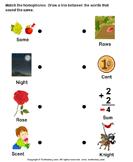 Match the Homophones - homonyms-homophones - Kindergarten