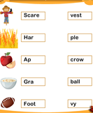 Match Two Syllables Thanksgiving Words
