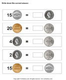 Equivalent Amount with Same Coins - money - First Grade