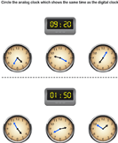 Matching Time with Analog and Digital Clocks