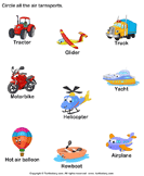 Identify Air Transports - vocabulary - Preschool