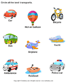 Identify Land Transports - transportation - Preschool