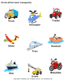 Identify Land Transports - vocabulary - Preschool
