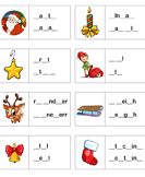 Missing Letters Christmas Spelling Sheet