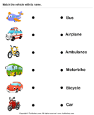 Vehicles - Identify and Match Names - vocabulary - Kindergarten