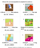 Complete the Sentences Using in, on, and Under - preposition - First Grade