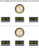Read Analog Clock and Match with Digital Clock