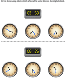 Read Digital Clock and Match with Analog Clock