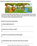 Reading Comprehension Lion