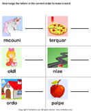Unscramble the Letters - spelling - First Grade