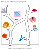 Rhyming Words Maze at and ip