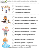 Choose a Sentence to Describe the Picture - adjectives - Kindergarten