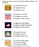 Choose the Sentence with the Correct Preposition - preposition - First Grade