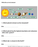 Solar System: Answer the Questions - solar-system - Second Grade