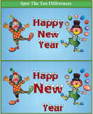 Spot the Differences Happy New Year Clown