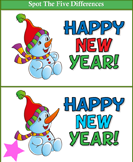 Spot the Differences Happy New Year Snowman