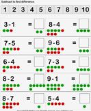 Subtraction with Dots - subtraction - Kindergarten