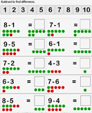Subtraction of Single Digit Numbers with Dots
