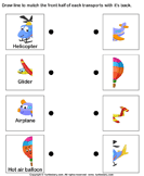 Air Transport - Match the Parts - transportation - Preschool