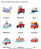 Water Transport - vocabulary - Kindergarten