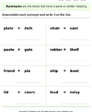 Unscramble Synonyms - antonyms-synonyms - First Grade