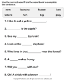 Use Words to Complete the Sentences - sentences - First Grade