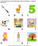 Complete the Words - spelling - First Grade