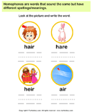 Using Pictures Spell the Homophones
