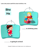 Using 'she' or 'he' - sentences - Kindergarten