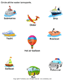 Identify Water Transports - transportation - Preschool