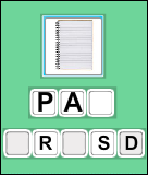 Word Scramble - preposition - Third Grade