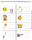 Write Beginning Sound Letter of Word Describing Picture