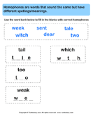 Fill in Letters to Complete the Homophone - homonyms-homophones - First Grade