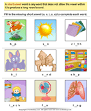 Write the Missing Short Vowel - phonics - First Grade
