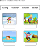 Write Seasons Depicted by Pictures