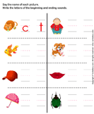 Write the Letter of Beginning and End Sound - phonics - Kindergarten