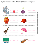 Write the Letter of Ending Sound - phonics - Kindergarten